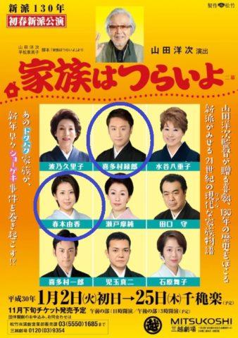 春本由香と喜多村緑郎の不倫きっかけとなった「家族はつらいよ」